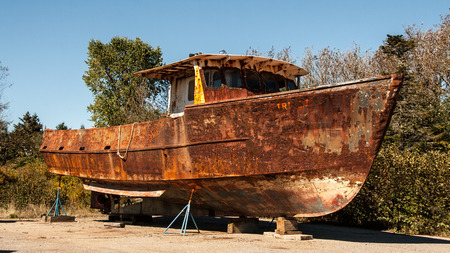 rusty boat 版權商用圖片