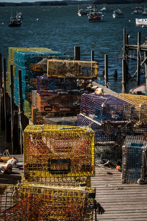 lobster boat: Lobster Traps Maine