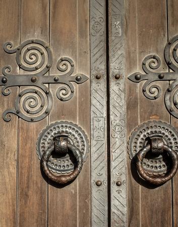 antique: Wooden door and handle