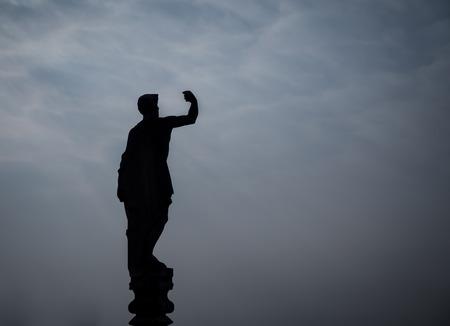 동상 밀라노의 실루엣 스톡 콘텐츠