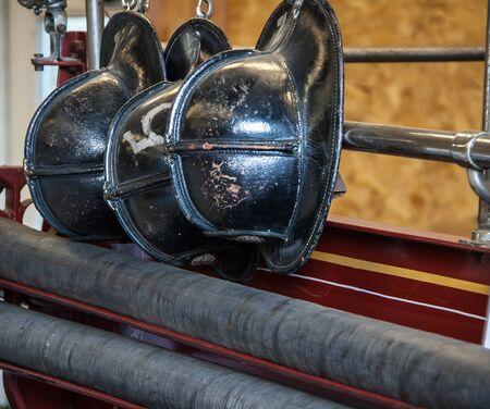 fire helmet: black fire helmet Stock Photo