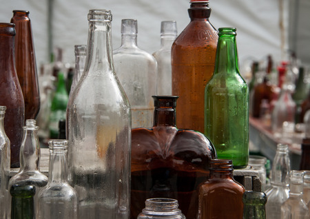 flea market: bottles at a flea market Stock Photo