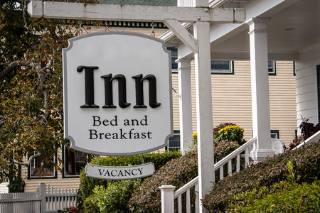 breakfast in bed: sign for an inn Stock Photo