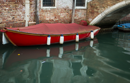 moored: moored boat venice