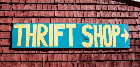 thrift: thrift shop sign