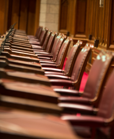 chamber: The seats of the canadian senate chamber Stock Photo
