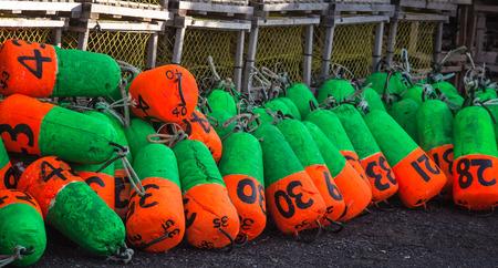 buoys: colorful lobster buoys