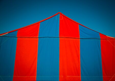 stripe: red and blue tent