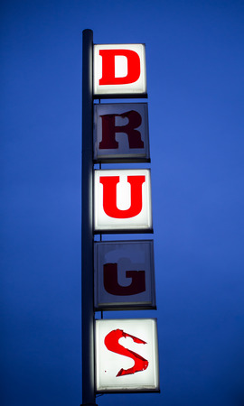 old sign: old drugs neon sign