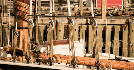pulley: rope and pulley sailboat Stock Photo