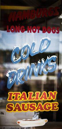 italian sausage: window with cold drinks