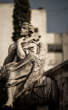 angel headstone: angel in recoleta cemetery