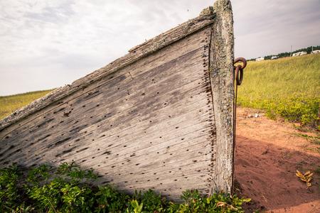 abandon: bow abandon wooden boat