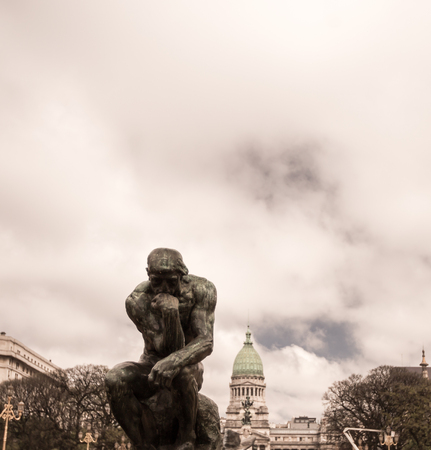 aires: man thinking statue buenos aires Stock Photo