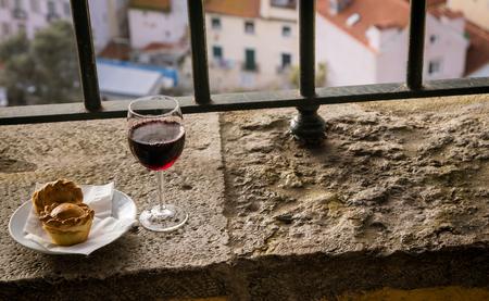 ledge: red wine on a ledge Stock Photo