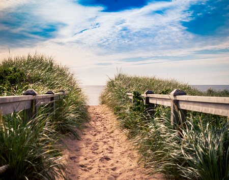beach trail prince edward island Stock Photo