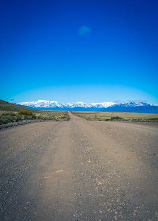 calafate: gravel road patagonia Stock Photo