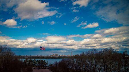 US flag on Ellis Island Stock Photo