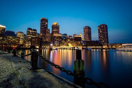 waterfront of Boston at night