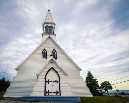 White wooden Church Gaspe Quebec Stock Photo
