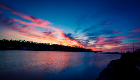sunrise over a  bay in Nova Scotia Stock Photo