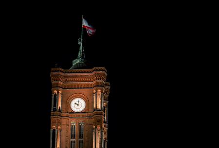 clock tower berlin at night