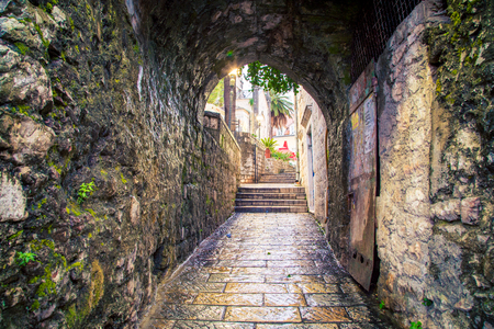 tunnel way in herceg novi Stock Photo