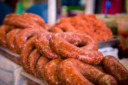 fresh roll of sausages Stock Photo