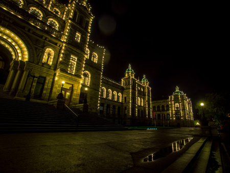 British Colombia parliament at night