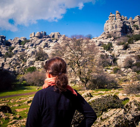 Woman at El Torcal formations in Antequera Spain Stock Photo