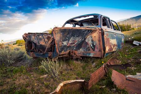 Wrecked abandon car Argentina