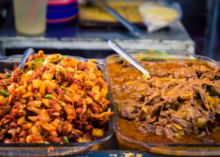Sliced Kebab meat at a taco stand