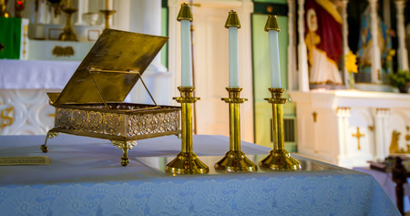 gold candlesticks in a Church