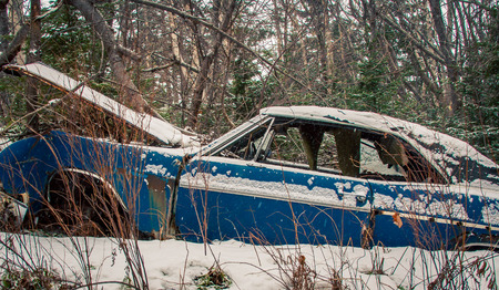 abandon car in the winter Banco de Imagens