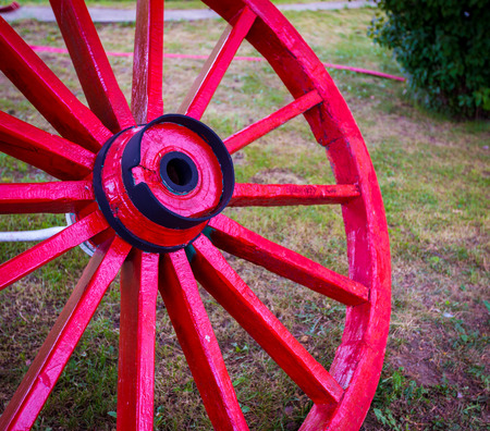 wooden red wagon wheel