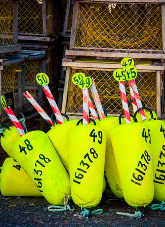 colorful lobster fishing buoys and traps
