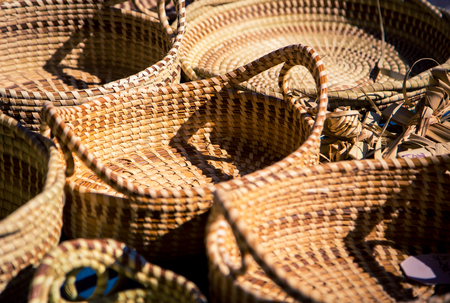 wicker baskets at a market Stok Fotoğraf
