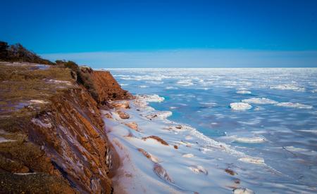 Frozen Atlantic ocean from pei 스톡 콘텐츠