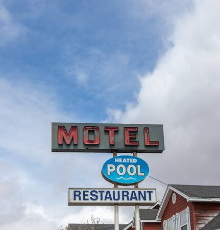 neon motel with pool  sign