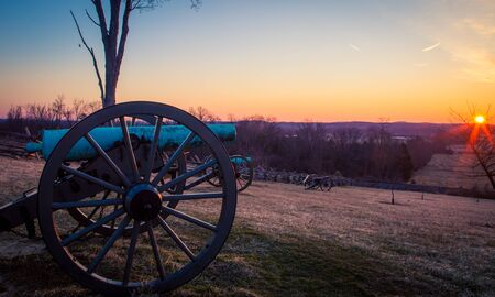 cannon at sunrise in Gettysburg Banque d'images
