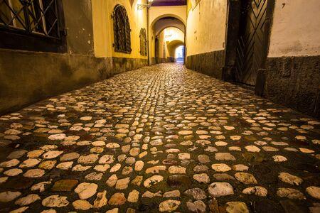 Rain on a cobblestone street in Ljubljana