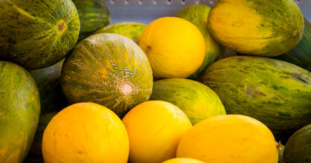 fresh melons at a farmers market