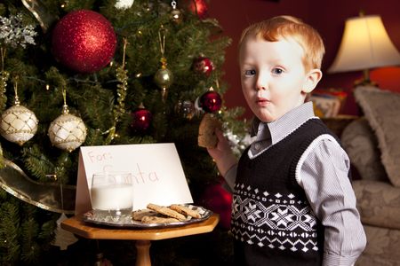 Young boy eating cookies left for Santa Claus on Christmas Eve.