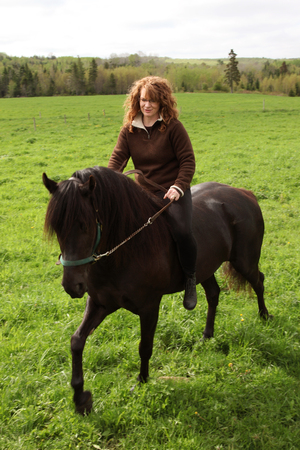 woman riding horse in field red hair