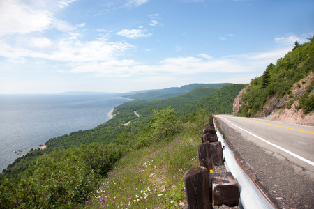 scotia: A scenic highway on the hill next to the coast Stock Photo