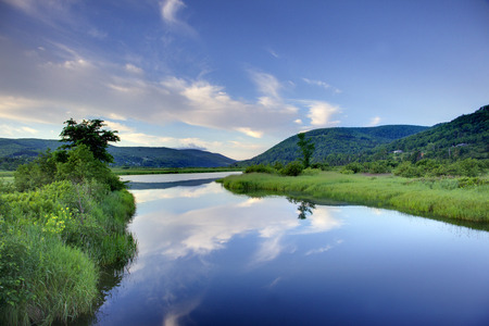 A view from Cape Breton with clear blue waters and green marshes.