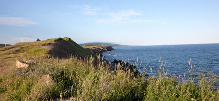 scotia: rocky cliffs along the french shore in Cape Breton, Nova Scotia