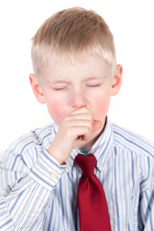 Young child coughing or yawning