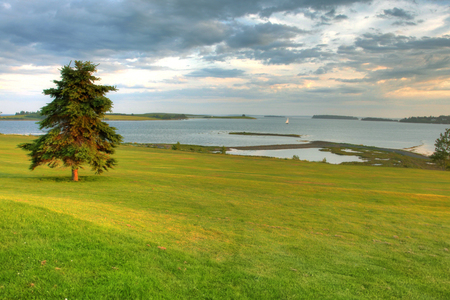 View of Atlantic Ocean from green of golf course.