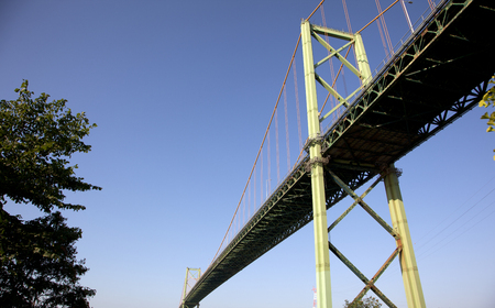 view from beside the A. Murray MacKay bridge on the Halifax side Stock Photo